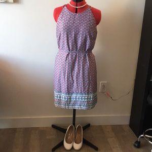 Paisley print slip dress with tie-waist.